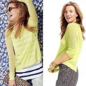 Cabi Split Back Sweater Lemon Lime Semi Sheer